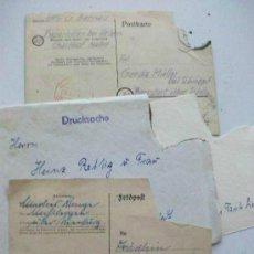 Postales: LOTE DE LA 2ª GUERRA MUNDIAL : POSTKARTE Y FELDPOST, CARTAS DE SOLDADOS ALEMANES. 3 PIEZAS.. Lote 90890360