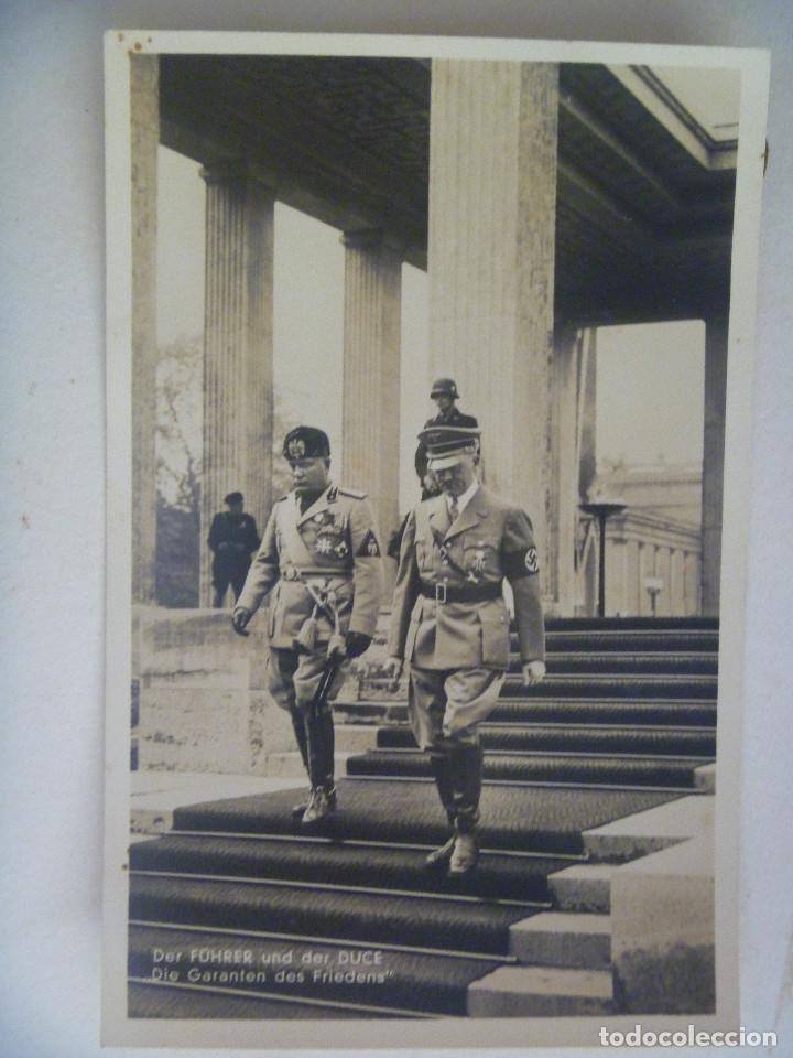 POSTAL DE LA ALEMANIA NAZI : VISITA DEL DUCE A BERLIN. RECUERDO DE LA DIVISION AZUL (Postales - Postales Temáticas - II Guerra Mundial y División Azul)