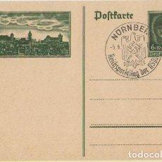 Postales: III REICH, 1938, ENTERO POSTAL HITLER, CELEBRACIÓN DEL DÍA DEL PARTIDO NSDAP, NUREMBERG, 5-9-38.. Lote 103968555