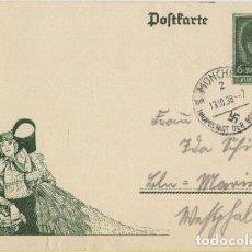 Postales: III REICH, 1938, ENTERO POSTAL HITLER, MUNICH CAPÌTAL DEL MOVIMIENTO , 13-10-38. DEUTSCHES REICH. Lote 103971567