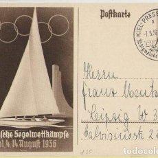 Postales: III REICH, OLIMPIADA DE BERLIN, 1936, ENTERO POSTAL CON EL MATASELLOS CONMEMORATIVO, VELA, SEPIA. Lote 103973283