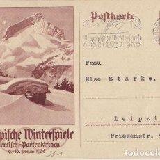Postales: III REICH, OLIMPIADA DE BERLIN, 1936, ENTERO POSTAL, MATASELLOS CONMEMORATIVO, JUEGOS DE INVIERNO.... Lote 103974595