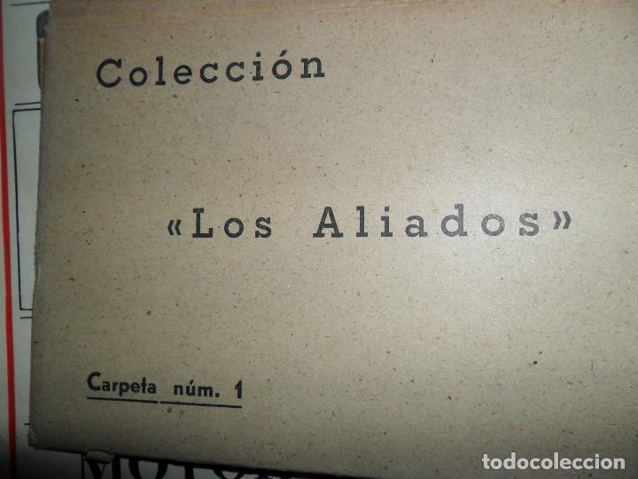 COLECCIÓN LOS ALIADOS, CARPETA NÚM. 1, CONTIENE 6 POSTALES SATÍRICAS, II GUERRA MUNDIAL (Postales - Postales Temáticas - II Guerra Mundial y División Azul)