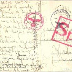 Postales: POSTAL DIVISIÓN AZUL - FELDPOST - FRENTE DEL ESTE RUSIA - REMITIDA POR DIVISIONARIO A MADRID - 1942. Lote 115344395