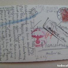 Postales: POSTAL LAGO DE LUGANO ( SUIZA ) CIRCULADA A BARCELONA. CENSURA MILITAR Y CUÑO ALEMANIA NAZI. 1943. Lote 141254278