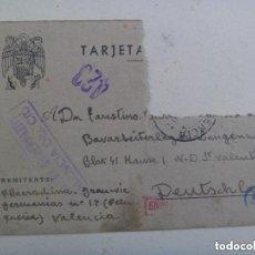 Postales: DIVISION AZUL : POSTAL ENVIADA DESDE VALENCIA A DIVISIONARIO EN ALEMANIA. 1943. CUÑO NAZI Y CENSURA.. Lote 142569186