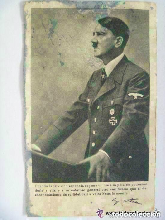 POSTAL DE HITLER CON CITA DE AGRADECIMIENTO A LA DIVISION AZUL . RECUERDO DE UN DIVISIONARIO (Postales - Postales Temáticas - II Guerra Mundial y División Azul)