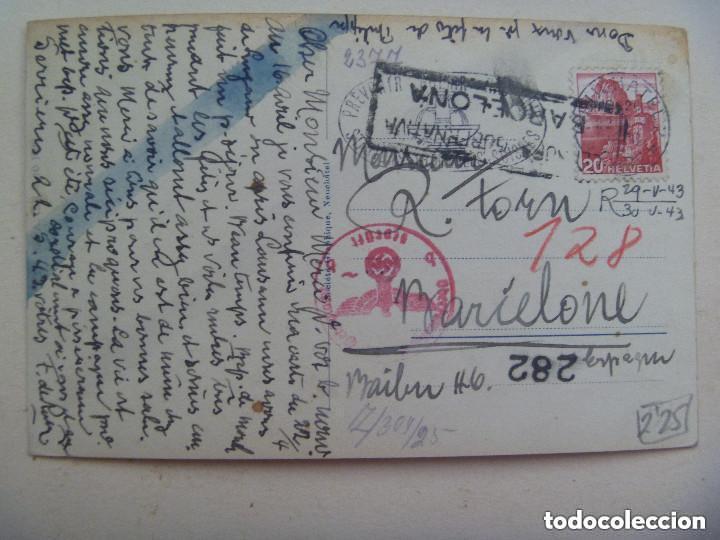 POSTAL LAGO NEUCHATEL ( SUIZA ) CIRCULADA A BARCELONA. CENSURA MILITAR Y CUÑO ALEMANIA NAZI. 1943 (Postales - Postales Temáticas - II Guerra Mundial y División Azul)