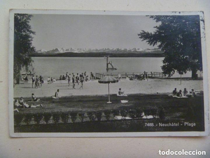 Postales: POSTAL LAGO NEUCHATEL ( SUIZA ) CIRCULADA A BARCELONA. CENSURA MILITAR Y CUÑO ALEMANIA NAZI. 1943 - Foto 2 - 153203510