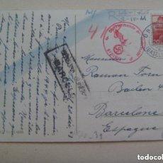 Postales: POSTAL DE SUIZA . CIRCULADA A BARCELONA. CENSURA MILITAR DE BARCELONA Y CUÑO ALEMANIA NAZI. 1944. Lote 158882874