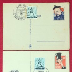 Postales: LOTE DE TARJETAS POSTALES DEL TERCER REICH, CON SELLO IMPRESO CARICATURIZANDO AL GOBIERNO BRITÁNICO. Lote 159000082