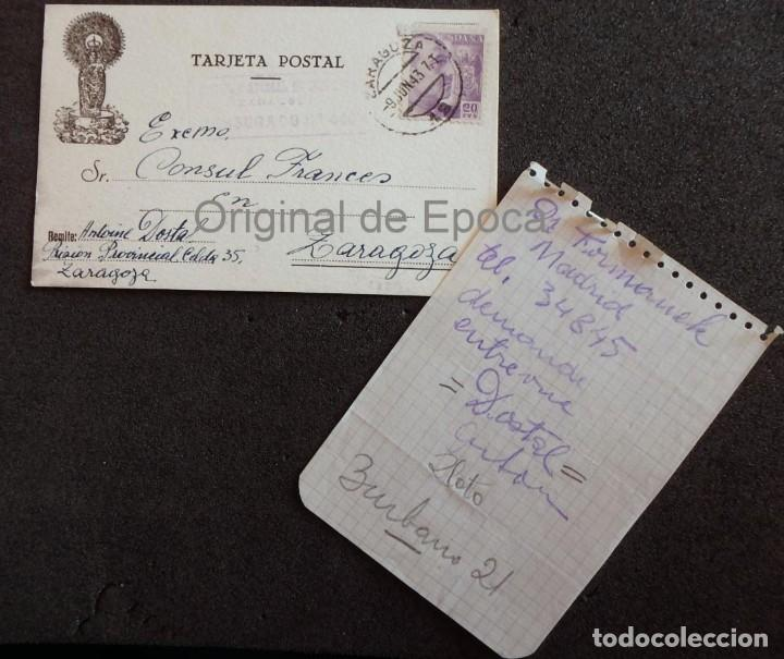 (JX-190406)POSTAL ENVIADA AL CONSULADO FRANCÉS EN ZARAGOZA POR ANTONIE DOSTAL DESDE PRISION (Postales - Postales Temáticas - II Guerra Mundial y División Azul)