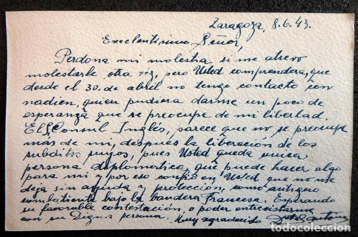 Postales: (JX-190406)Postal enviada al Consulado Francés en Zaragoza por Antonie Dostal desde Prision - Foto 3 - 160002110