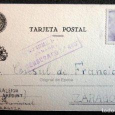 Postales: (JX-190413)POSTAL ENVIADA AL CONSULADO FRANCÉS EN ZARAGOZA POR G.AIRPOINT Y W.RALEIGH,DESDE PRISION. Lote 160006522