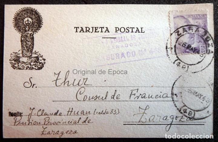 (JX-190423)POSTAL ENVIADA AL CONSULADO FRANCÉS EN ZARAGOZA PORJ.CLAUDE HUAN,DESDE LA PRISIÓN (Postales - Postales Temáticas - II Guerra Mundial y División Azul)