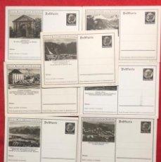 Postales: LOTE DE 9 POSTALES CON SELLO IMPRESO DE HINDEMBURG, ALEMANIA, TERCER REICH. Lote 161812514