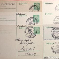Postales: LOTE DE 7 TARJETAS CON SELLO DE HINDENBURG Y CANCELACIÓN , ALEMANIA, TERCER REICH. Lote 161817786