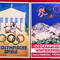 Postales: POSTALES ORIGINALES , OLIMPIADAS DE 1936 VERANO E INVIERNO. Lote 163627766