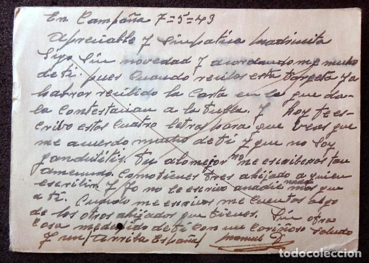 Postales: (JX-190553)Tarjeta postal enviada desde el frente ruso , 7-5-1943 , División Azul,madrina de guerra. - Foto 3 - 164213818