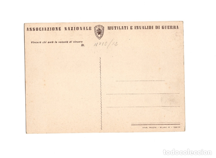 Postales: ASSOCIAZIONE NACIONALE. MUTILATI E INVALIDI DI GUERRA. ASOCIACIÓN NACIONAL MUTILADOS DE GUERRA - Foto 2 - 174576529