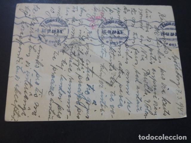 Postales: POSTAL 1943 DIRIGIDA DE SUECIA A MADRID CON CENSURA NAZI Y MARCA TINTA INVISIBLE ESCRITA ESPERANTO - Foto 2 - 175865812