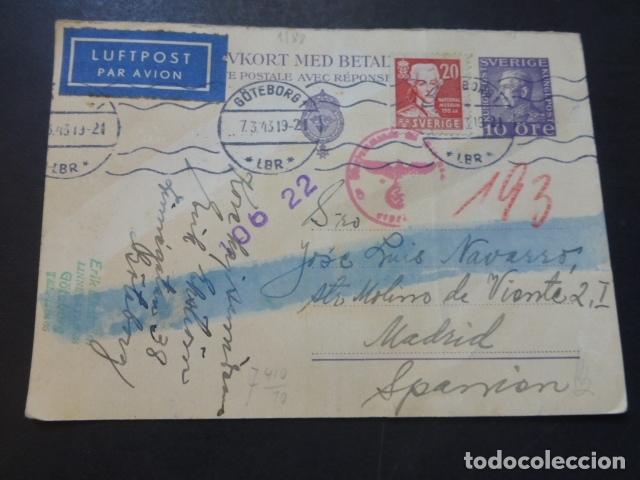 POSTAL 1943 DIRIGIDA DE SUECIA A MADRID CON CENSURA NAZI Y MARCA TINTA INVISIBLE ESCRITA ESPERANTO (Postales - Postales Temáticas - II Guerra Mundial y División Azul)
