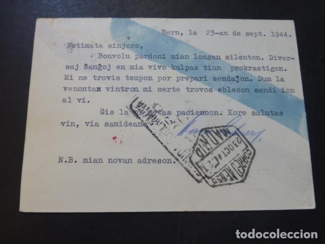 Postales: POSTAL 1944 DIRIGIDA DE SUIZA A MADRID CON CENSURA NAZI Y MARCA TINTA INVISIBLE CENSURA GUBERNATIVA - Foto 2 - 175865915