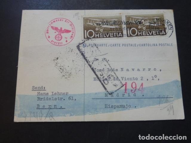 POSTAL 1944 DIRIGIDA DE SUIZA A MADRID CON CENSURA NAZI Y MARCA TINTA INVISIBLE CENSURA GUBERNATIVA (Postales - Postales Temáticas - II Guerra Mundial y División Azul)
