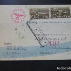 Postales: POSTAL 1944 DIRIGIDA DE SUIZA A MADRID CON CENSURA NAZI Y MARCA TINTA INVISIBLE CENSURA GUBERNATIVA. Lote 175865915