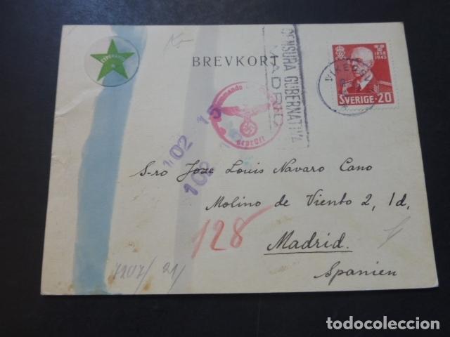 POSTAL 1943 DIRIGIDA DE SUECIA A MADRID CON CENSURA NAZI Y MARCA TINTA INVISIBLE CENSURA GUBERNATIVA (Postales - Postales Temáticas - II Guerra Mundial y División Azul)