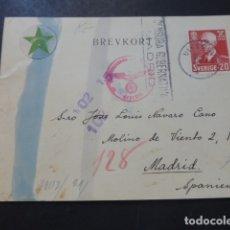 Postales: POSTAL 1943 DIRIGIDA DE SUECIA A MADRID CON CENSURA NAZI Y MARCA TINTA INVISIBLE CENSURA GUBERNATIVA. Lote 175866007