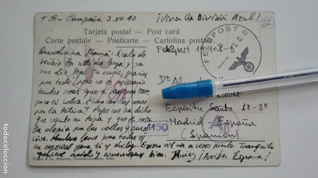 DIVISIÓN AZUL : FELDPOST, DE DIVISIONARIO, EN CAMPAÑA 1942. CURIOSAMENTE POSTAL DE GRANADA (Postales - Postales Temáticas - II Guerra Mundial y División Azul)