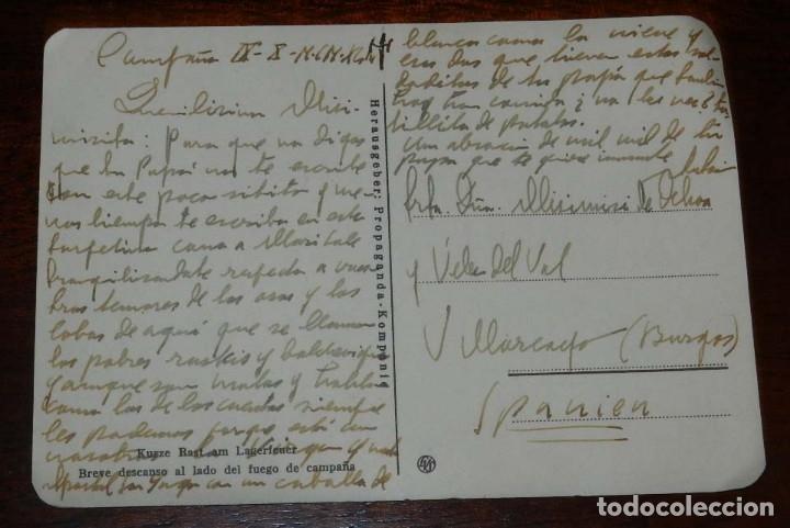 Postales: POSTAL DE LA DIVISION AZUL, ESCRITA EN CAMPAÑA POR UN OFICIAL ESPAÑOL, DIRIGIDA A VILLARCAYO (BURGOS - Foto 2 - 182389993