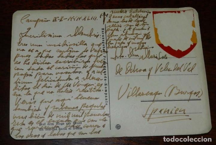 Postales: POSTAL DE LA DIVISION AZUL EN MARCHA HACIA EL FRENTE, ESCRITA EN CAMPAÑA POR UN OFICIAL ESPAÑOL EN 1 - Foto 2 - 182390356