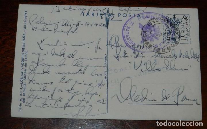 Postales: POSTAL DE LOS SALVADORES DE ESPAÑA, UN RECUERDO DEL INMORTAL ALCAZAR DE TOLEDO, GUERRA CIVIL, SERIE - Foto 2 - 182391706