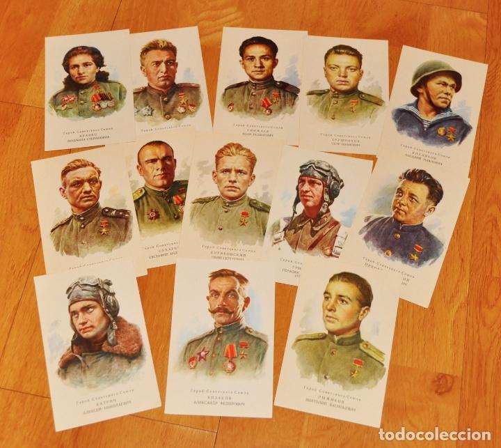 Postales: Juego de 13 postales sovieticas. Geroes de SGM.URSS.1970 a - Foto 2 - 183027547