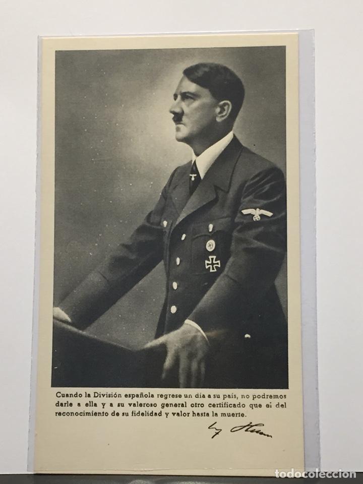"""POSTAL HITLER DIVISIÓN AZUL """"AGRADECIMIENTO HITLER"""" (Postales - Postales Temáticas - II Guerra Mundial y División Azul)"""