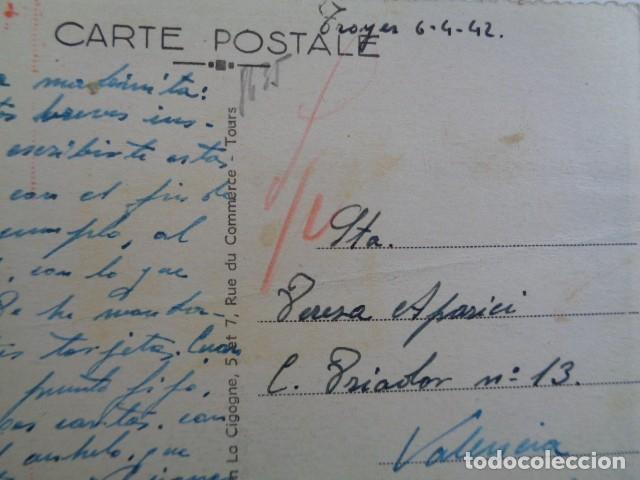 Postales: DIVISIÓN ESPAÑOLA DE VOLUNTARIOS. DIVISIÓN AZUL. 1942. POSTAL DESDE TROYES, FRANCIA. - Foto 2 - 192987406