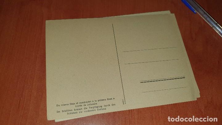 Postales: Division azul, en trineo llega el suministro a la primera linea, postal sin circular, 15 x 10,5 cm. - Foto 2 - 194130556