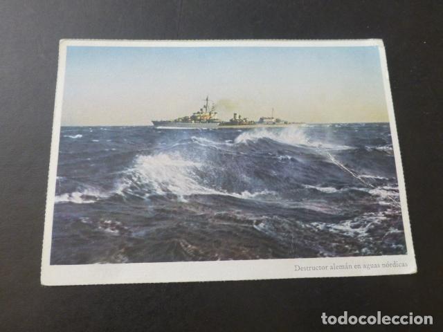 DESTRUCTOR ALEMAN EN AGUAS NORDICAS BARCO SEGUNDA GUERRA MUNDIAL (Postales - Postales Temáticas - II Guerra Mundial y División Azul)