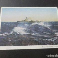 Postales: DESTRUCTOR ALEMAN EN AGUAS NORDICAS BARCO SEGUNDA GUERRA MUNDIAL. Lote 196731047