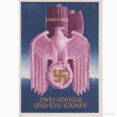 Postales: POSTAL DECLARACIÓN GUERRA A EEUU POR ALEMANIA E ITALIA. ZWEI VOLKER UND EIN KAMPF. III REICH. NAZI.. Lote 197230156