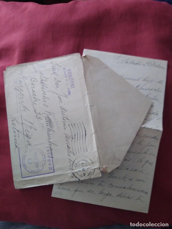SOBRE CON CARTA ENVIADA A RIGA DIVISIÓN AZUL. VOLUNTARIO MILITAR. (Postales - Postales Temáticas - II Guerra Mundial y División Azul)