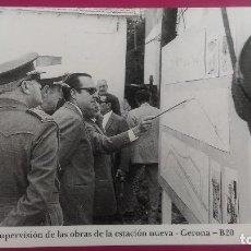 Postales: SUPERVISION DE LAS OBRAS DE LA ESTACION NUEVA CONSTRUCCION TREN GERONA GIRONA 1971. Lote 207134366