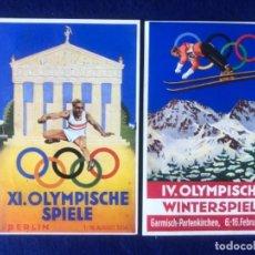 Postales: LOTE DE POSTALES ORIGINALES ALEMANAS OLYMPIA 1936 VERANO E INVIERNO. Lote 212537546