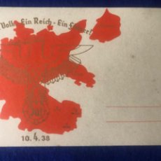 Postales: POSTAL ORIGINAL ALEMANA EIN VOLK EIN REICH EIN FUHRER 10.04.1938. Lote 212610392