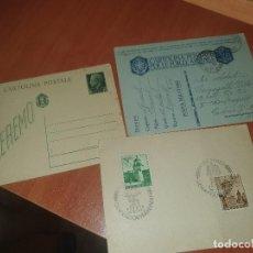 Postales: II GUERRA MUNDIAL, ENTEROS POSTALES ITALIANOS Y TARJETA ALEMANA COS SELLOS CONMEMORATIVOS, 1943. Lote 217753758