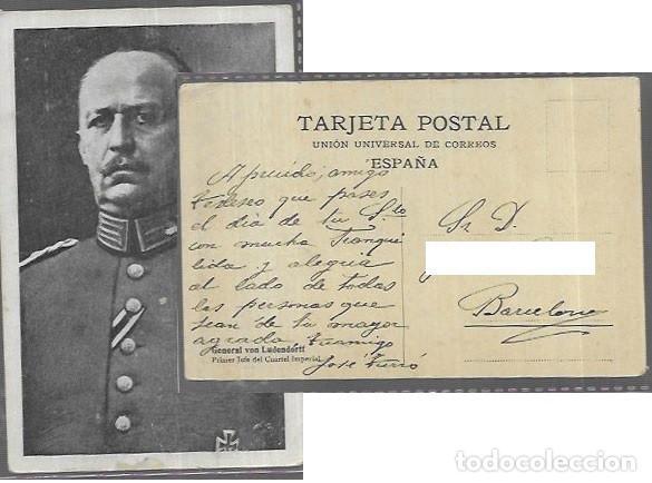 POSTAL * GENERAL VON LUDENDORFF , PRIMER JEFE DEL CUARTEL IMPERIAL * UUC (Postales - Postales Temáticas - II Guerra Mundial y División Azul)