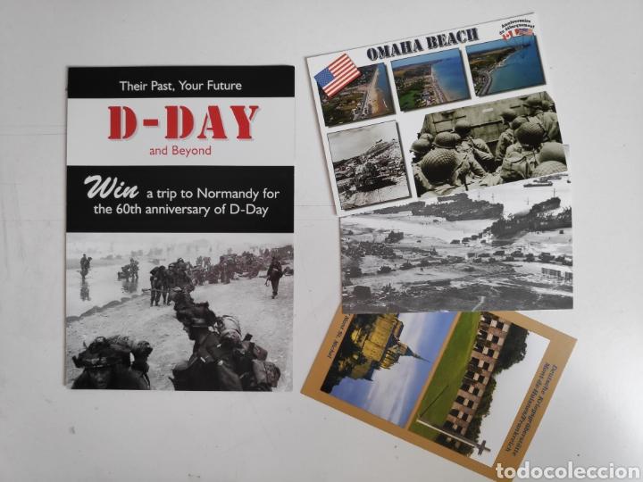 FOLLETO DIA-D. DESEMBARCO DE NORMANDIA + 3 POSTALES DIA-D, SEGUNDA GUERRA MUNDIAL (Postales - Postales Temáticas - II Guerra Mundial y División Azul)