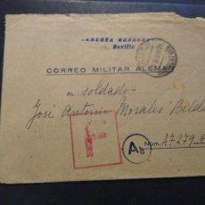 Cartes Postales: CORREO MILITAR ALEMÁN. FELD POST DIVISIÓN AZUL CONSERVA LA CARTA. SAN FERNANDO ESCUELA NAVAL MILITAR. Lote 225495370